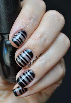 Sheer Black Nail Polish with Stripes
