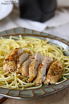 Garlicky Butter Spaghetti Pasta With Herb Grilled Chicken