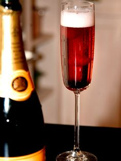 Quite possibly the greatest French contribution to cocktail hour: the Kir Royale. 6 oz. Champagne, 1/2 oz. Creme de Cassis, and a liberal splash of joie de vivre...