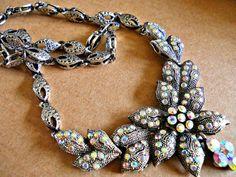 Rhinestone Bib Necklace-Earrings Aurora by RenaissanceFair on Etsy #Teamlove #vintage #jewelry #Fashion #ERTG