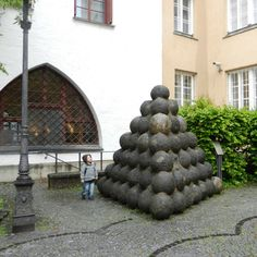 Stacked cannonballs at the Munchner Stadtmuseum, Munchen (Munich City Museum)