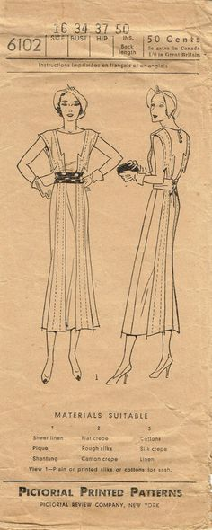 1930s Vintage Pictorial Review Sewing Pattern 6102 Art Deco Misses Dress 34 Bust