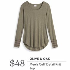 Olive & Oak Meeks Cuff Detail Knit Top - Olive striped - Stitch Fix 2016