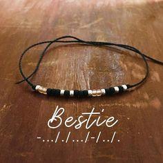 Bestie Morse Code Bracelet - Gift for Women - Best Friend Gift - Gift for Her - Friendship Bracelet - waxed - Inspirational #promo