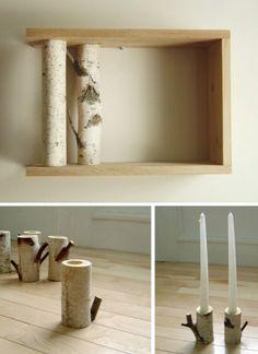 Voici un bel ensemble de ce que l'on peut faire avec des branches de bouleau bien sec. Ce cadre , fait de trois planches de bois brut et de deux branches de bouleau coupé est un objet déco à lui tout seul. On peut, si on veut, lui donner la fonction d'étagère...