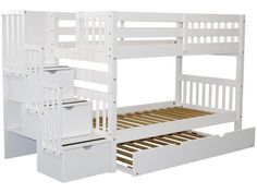 Bedz King Stairway Bunk Beds Full over Full with 4 Drawers in the Steps and 2 Under Bed Drawers, White Bunk Beds With Drawers, Under Bed Drawers, Bunk Beds Built In, Bunk Beds With Storage, Full Bunk Beds, Bunk Beds With Stairs, Kids Bunk Beds, Loft Beds, Full Bed With Trundle