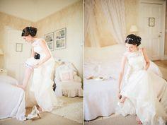 Justin Alexander bride putting on her garter and shoes  Elizabeth Lois Photography
