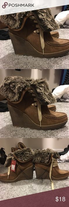 Heeled boots Fur lined heeled boots with tags Mossimo Supply Co Shoes Heeled Boots