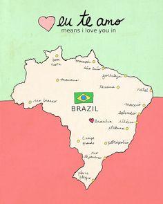 I Love You in Brazil // Typographic Print, Nursery Art, Map, Chart, Illustration, Children Decor, Typography Poster, Digital, Giclee