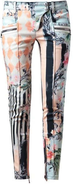 Balmain Baroque Floral Printed Denim Jeans