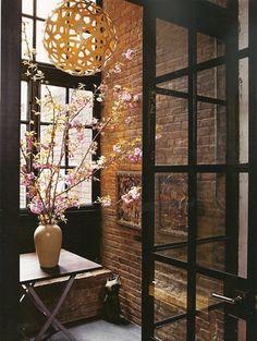 Brick entrance, steel doors & windows