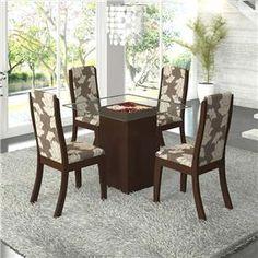 Conjunto para Sala de Jantar com Mesa Quadrada com Tampo de Vidro Drica e 4 Cadeiras Click