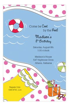 Dive In Pink Invitation