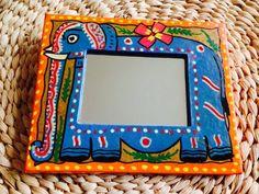 Handpainted mirror frame madhubani. Indian decor . Indian mirrors