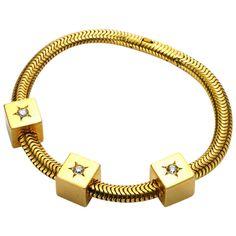 Mellerio Retro Diamond Gold Bracelet | From a unique collection of vintage retro bracelets at http://www.1stdibs.com/jewelry/bracelets/retro-bracelets/