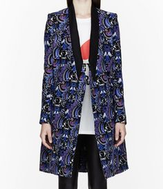 Statement Coats: Kenzo blue eyes print long coat with contrast black shawl collar, $1300, ssense.com