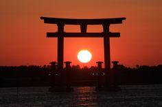 sunset with torii