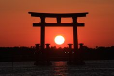 夕日と鳥居 sunset with torii