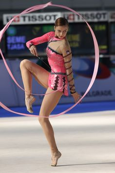 Tjasa Seme of Slovenia performing ribbon routine.