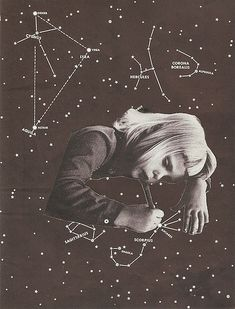 Drawing Constellations III (Scorpio) by Andres Gamiochipi colagem Collages, Photomontage, Illustrations, Illustration Art, Psy Art, Image Digital, Foto Art, Trippy, Oeuvre D'art