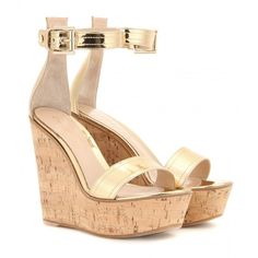 Gianvito Rossi Metallic Leather Wedges (825 CAD) ❤ liked on Polyvore featuring shoes, sandals, wedges, heels, gold, wedge heel shoes, leather wedge shoes, heeled sandals, wedges shoes and metallic shoes