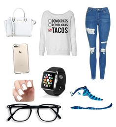 """""""Something quick"""" by httpxchassy on Polyvore featuring Topshop, NIKE, MICHAEL Michael Kors and Apple"""