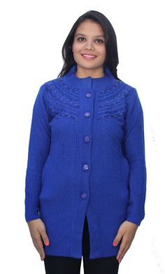 Romano Blue Winter Wool Sweater Cardigan for Women >>> Sensational bargains just a click away : Women's Fashion for FREE