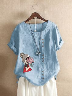 Cartoon Embroidery Short Sleeve Casual Blouse look not only special, but also they always show ladies' glamour perfectly and bring surprise. Come to NewChic to choose the best one for yourself! Casual T Shirts, Tshirts Online, Ideias Fashion, Creations, Short Sleeves, Tunic Tops, T Shirts For Women, Cartoon, Womens Fashion