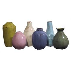 Tiny vase collection of six pieces of ceramic palette mustard, pink, cream, indigo, sea-blue, and olive - making them perfect a Mediterranean decor. SHIPPING IS INCLUDED IN THE PRICE! DIMENSIONS*| (6-