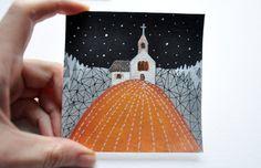 Night Landscape Original acrylic painting Miniature by Ffufland
