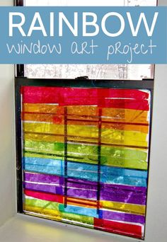 Such gorgeous (and simple!) rainbow window art for kids to make