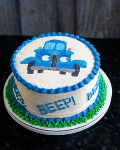 Little Blue Truck Smash Cake Buttercream Transfer Tutorial