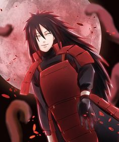 Madara Uchiha Red Background And Scary Smile