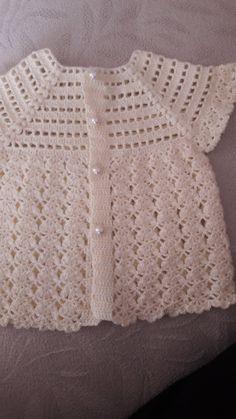 free knitting pattern for baby girl bolero How to crochet a beautiful tiny dress. Crochet Thread Patterns, Crochet Baby Dress Pattern, Crochet Ruffle, Knit Baby Dress, Quick Crochet, Baby Girl Crochet, Easy Knitting Patterns, Crochet Jacket, Baby Patterns