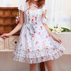 Light Blue Strawberry Floral Printed Dress SP165447