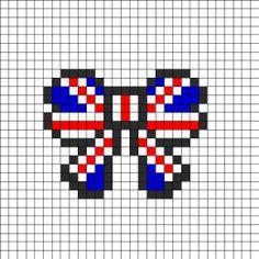 Union Jack British Flag Bow Perler Perler Bead Pattern | Perler Bead Patterns | Misc Fuse Bead Patterns