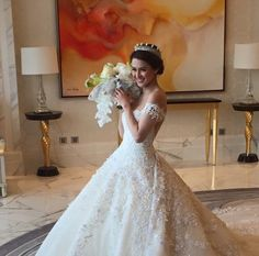 Luxury 2016 Ball Gown Wedding Dresses Beading Sequins Off Shoulder Lace Wedding Bridal Gowns Chapel Train Wedding Dresses Plus Size, Princess Wedding Dresses, Dream Wedding Dresses, Wedding Gowns, Lace Wedding, Royal Indian Wedding, Indian Wedding Outfits, Marian Rivera Wedding Gown, Satin Mermaid Wedding Dress