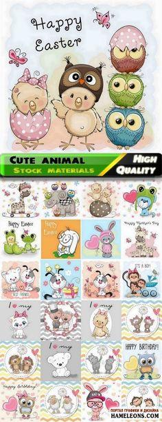 Векторные фоны с забавными животными для поздравительных открыток, карточек | Сute animal