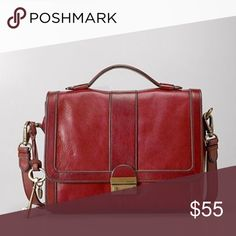 30e6a963cdba42 FOSSIL Vintage Reissue Messenger Leather Bag RED Fossil Vintage Re-Issue  Flap with Lock (