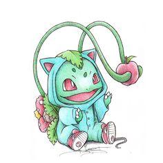Ilustraciones de Pokémons disfrazados de sus evoluciones