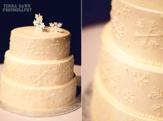 snowflake wedding cake winter wedding.. mrs papenmeier, can you make this for me??