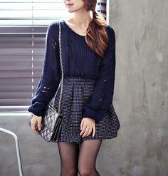Cute, skirt sweater, ulzzang style, ulzzang fashion, korean fashion #streetstyle