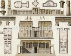Temple of Edfu, Egypt. Original steel engraving engraved by H. Winkles after G. Ancient Egypt Art, Egyptian Temple, Ancient Architecture, Antique Prints, Close Image, Gallery Wall, Floor Plans, Arrow Keys, The Originals