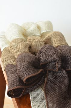Burlap Bow, burlap, brown burlap bow, burlap, wedding burlap bow, primitive bow, white bow, brown bow, primitive bow, rustic bow