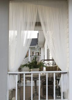 porch curtains - I love the idea of curtains on the porch/ patio for residents privacy Outside Curtains, Porch Curtains, Outdoor Curtains, Outdoor Rooms, Outdoor Privacy, Outdoor Gym, Ikea Curtains, Outdoor Living, Cottage Chic