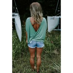 Green Open Back Top Solid open back twist short sleeve top. This top is so fun and can be dressed up or down!  Fabric 95% RAYON, 5% SPANDEX. Made in USA --    NO TRADES. PRICE IS FIRM UNLESS BUNDLED   SALE PRICE-Will go back up to $42 tomorrow✨ Tops Tees - Short Sleeve