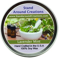 Premium All Natural Soy Wax Aromatherapy Candle - Tin - Lavender Mint: A well-balanced herbal blend of earthy lavender flowers and fresh peppermint and spearmint sprigs. Candles By Victoria, Candles With Jewelry Inside, Wax Tarts, Aromatherapy Candles, Christmas Candle, Lavender Flowers, Earthy, Peppermint, Herbalism