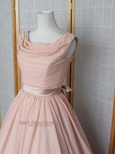 Vintage Style Peach Blush 50s tea length Formal Prom Dress