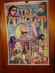 Vtg 1976 in Concert Black Light Velvet Poster Dylan Daltry Cooper Bowie Plant   eBay