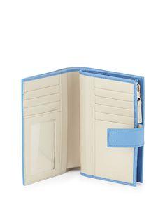 Smythson Panama Medium Continental Wallet, Blue